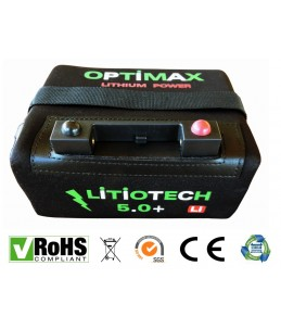 Batería Litio Optimax para carro de golf 12v 18ah con cargador