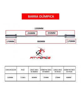 Barra Olímpica 1200mm marca...