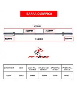 Barra Olímpica 1500mm marca...